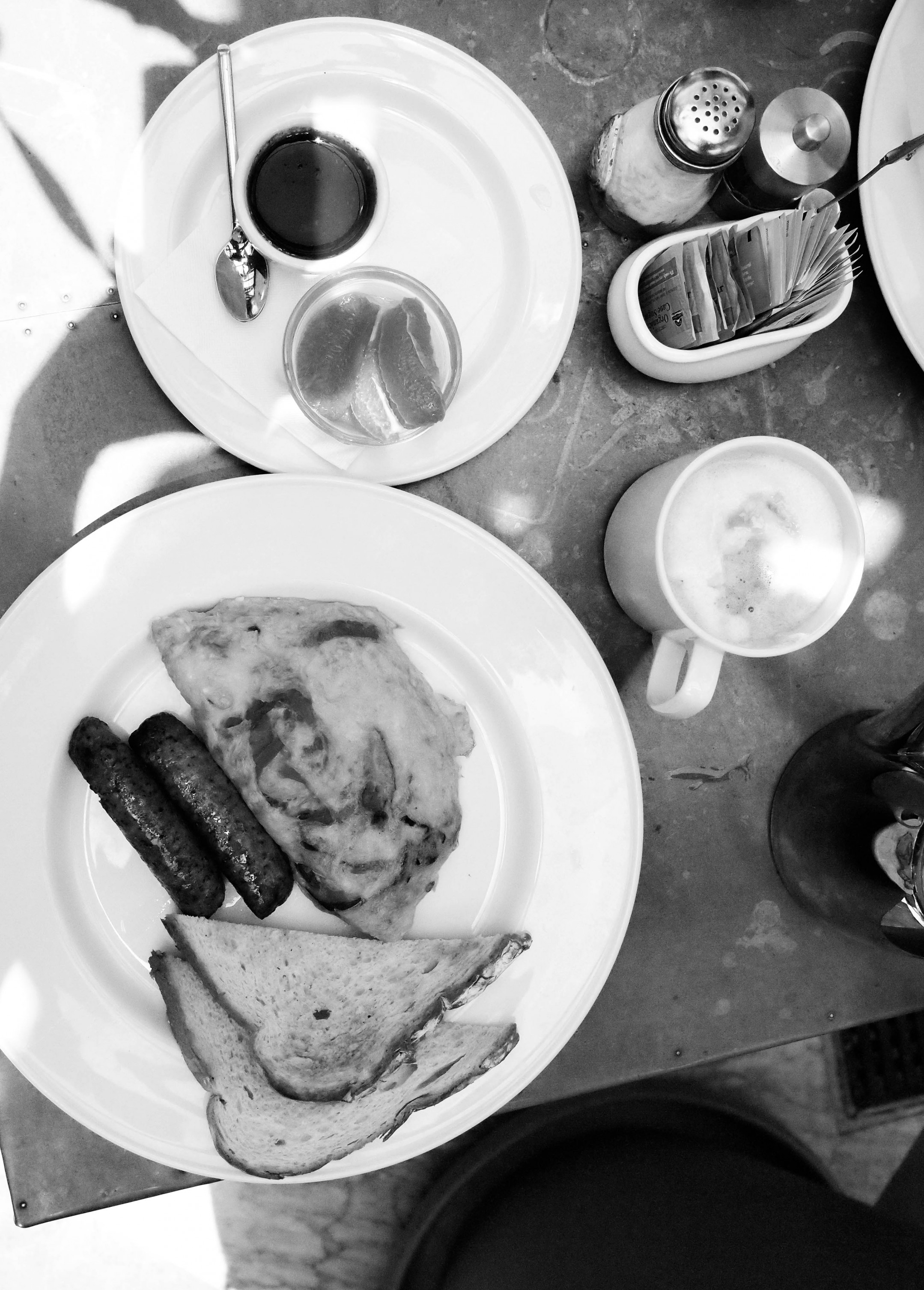 black and white breakfast.